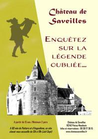 """Affiche du parcours ludique """"Enquête"""" - Château fort Charente - Château de Saveilles - Saveille - Château en Charente - Visite guidée groupe - Visite guidée famille - Visite charente"""