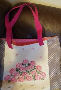 Selbstgenähte und bedruckte Tasche mit Hortensien (Danke Frau E.!)