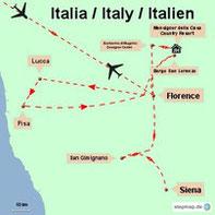 Karte meiner Rundreise durch die Toskana in Italien