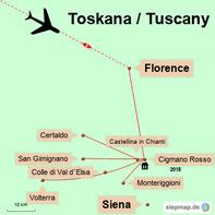 Karte der Rundreise durch den Süden  der Toskana