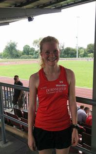 Im neuen Trikot beim 800m-Wettkampf: Rebecca Baum von der SG Wenden