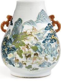 Bailu zun; 'Hundred deer' vase (Qing dynasty)