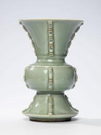 Gu; 'Beaker' vase; 'Flaring' vase (Longquan ware, Yuan dynasty)