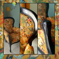 Avec presque rien, fauteuil voltaire, tapisserie, ton ocre, noir, clou tapissier, Madagascar, lémurien, girafe, exotisme, savane, sciez, thonon, leman, chablais, crea terra, relooking de meuble, recyclage