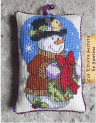 décoration de Noël coussin de lavande bohomme de neige, broderie rectoverso, couture aux perles