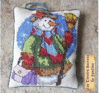 décoration de Noël brodé sachet de lavande bonhomme de neige,