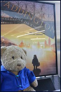 Kasimir in seinem blauen Düffel vor dem Kinoplakat von Paddington