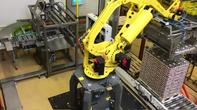 Palettieranlage mit Fanuc Roboter für  6 x 200 gr.; 6 x 400 gr.; 6 x 800 gr. Konservendosen