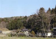 稲田山と西念寺。笠間市稲田。