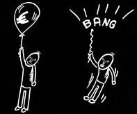 Cartoon  Männlein fliegt mit vollem Luftballon,  fällt ohne Luft im Ballon