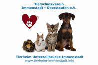 Logo des Tierheim Immenstadt mit einem roten Herz in dem eine Pfote abgebildet ist. Einem Hund,einer Katze, einem Kaninchen und einem Meerschweinchen.