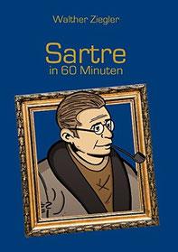 Sartre; Bild von Jean Paul Sartre; Comiczeichnung von Jean Paul Sartre; Kopf von Sartre