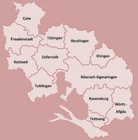 Verbandsgebiet des LandFrauenverbandes Württemberg-Hohenzollern