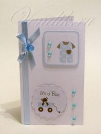 Открытка ручной работы для поздравления новорожденного малыша