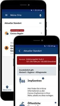 Abbildung zeigt Warn-App NINA mit neuen lokalen Corona-Funktionen Quelle: BBK