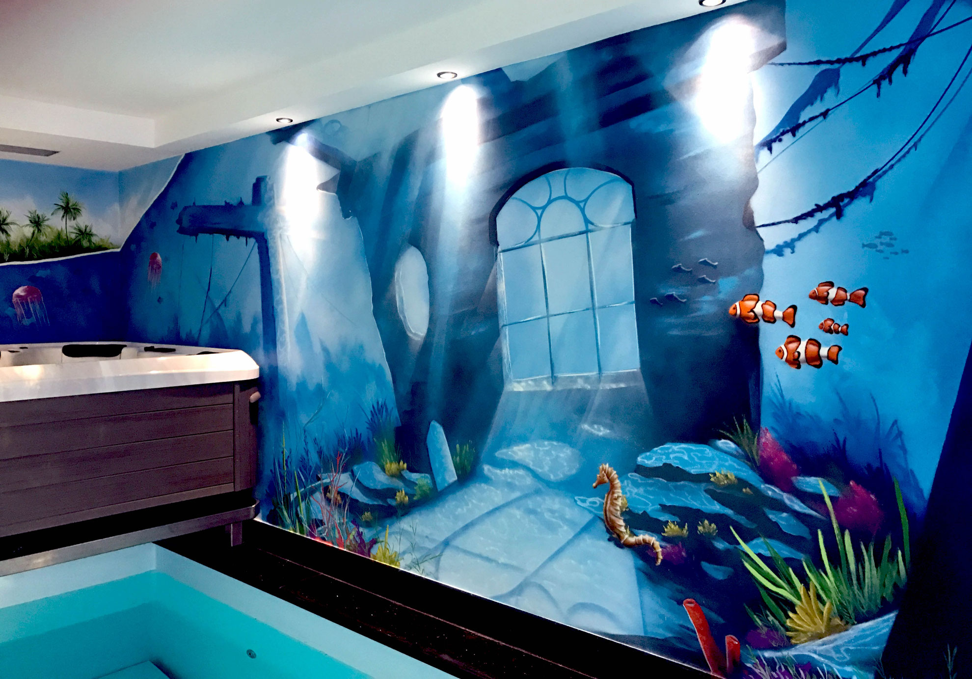 unterwasserwelt im schwimmbad  graffiti künstler und auftrag