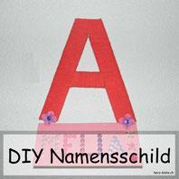 DIY Namensschild aus Garn für die Zimmertüre