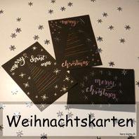 Weihnachtskarten selber machen mit Garn und Lettering