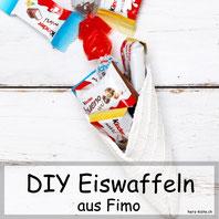 Selbstgemachte Eiswaffeln aus Fimo - Geschenkidee