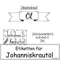 Gratis Download Etiketten für Johanniskrautöl
