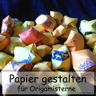 Papier bestempeln für Origamisterne