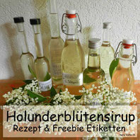 Lettering: Holunderblütensirup Etiketten - gratis Download