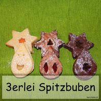 Spitzbuben drei Sorten: Original, mit Schokoladenpulver und mit Schokoladenstücklein