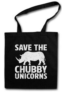 Jutebeutel Einhorn mit save the chubby unicorn Motiv