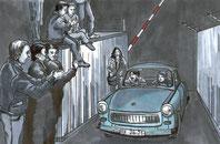 30 Jahre Mauerfall, Öffnung des Grenzübegangs Sonnenallee in Berlin,Bild aus dem Comic Todesstreifen