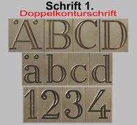 Gravur Schrift Druckbuchstaben