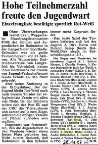 WZ vom 28.11.1988 Wuppertaler Rangliste Jugend
