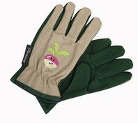 """Kinder-Gartenhandschuhe """"Radieschen"""". Die Handschuhe sind aus stabilem Leinen - ein Gummizug sorgt dafür, das sie sicher an der Hand bleiben. Von the-golden-rabbit.de"""