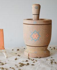 mortier, bois, coloré, naturel, déco, berbère, motifs, fait main, artisanat, handmade, made in france, mehras