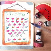 paper break boutique creteil bullet journal ateliers page mood tracker inspiration dessin aquarelle pasteques