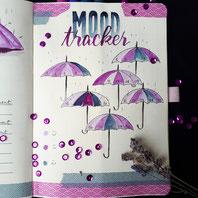 paper break boutique creteil bullet journal ateliers page mood tracker inspiration dessin aquarelle parapluies