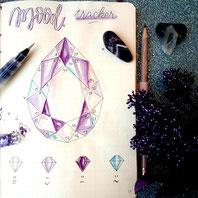 paper break boutique creteil bullet journal ateliers page mood tracker inspiration cristaux facettes lithothérapie dessin aquarelle