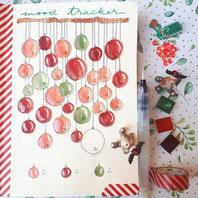 paper break boutique creteil bullet journal ateliers page mood tracker inspiration dessin aquarelle boules noel suspension