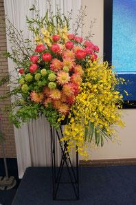 ギフト・花・開店・個展・イベント開催祝 ダリアやバラなどをふんだんに使って華やかなアレンジ
