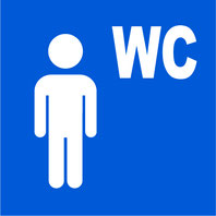 Panneau bleu avec pictogramme blanc d'un personage et le texte WC