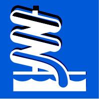 Panneau bleu avec pictogramme blanc d'un toboggan