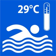 Panneau bleu avec pictogramme blanc d'un nageur et une thermomètre .