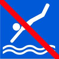 Panneaux bleu avec pictogramme blanc d'un personage qui plonge dans l'eau barré par un trait rouge