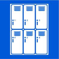Panneau bleu avec image en blanc casiers vestiaire