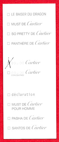 CARTIER - CARTE MULTI-FRAGRANCES : VERSO  - RESTE 1