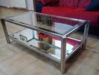 Mesa de acero inox con cristal
