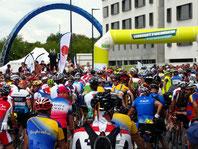 A crowd of cyclists at the start line of Paris-Brest-Paris 2015.
