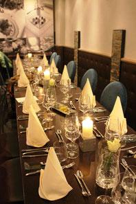 Kochkurs im Hotel & Restaurant Eggers / eingedeckter Tisch