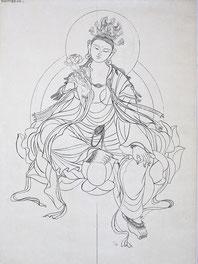 文殊师利 MANJUSRI  89X43CM 纸本水墨 INK  ON PAPER  2010