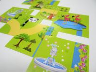 パズルピースにあたる、動物や建造物が描かれた絵柄カードの写真