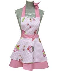 Küchenschürze für Mädchen mit weitem Rock in rosa mit Cupcakes